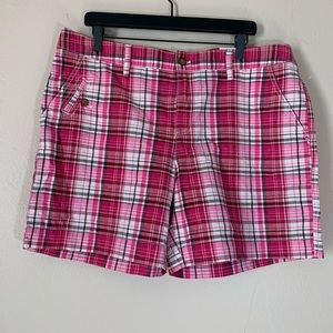 NWT BASS Cerise 100% Cotton Plaid Shorts